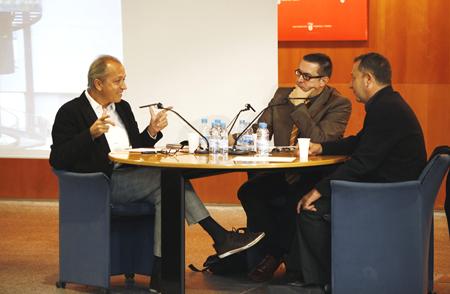 Amador Vega, Javier Aparicio i Vicente Todolí durant la sessió