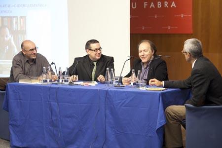De izquierda a derecha: Domingo Ródenas, Javier Aparicio, Javier Marías i Jaume Casals