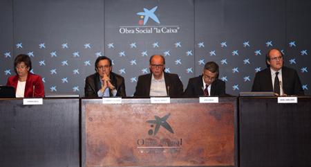 D'esquerra a dreta: Carmen Beviá, Fernando Vallespín, Carlos Thiebaut, Jesús Silva i Ángel Gabilondo