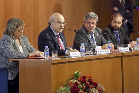 D'esquerra a dreta: Núria Basi, Andreu Mas-Colell, Josep Joan Moreso i Gerard Ardanuy