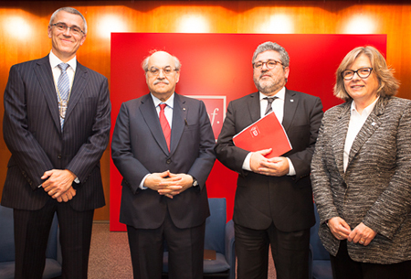 D'esquerra a dreta: Jaume Casals, Andreu Mas-Colell, Josep Joan Moreso i Núria Basi