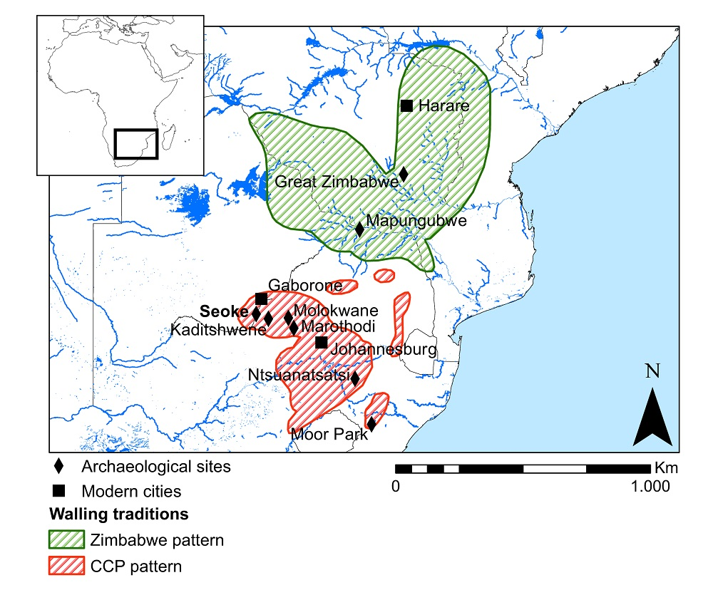 Distribution of the Stone Walled Sites in the second millennium AD in southern Africa