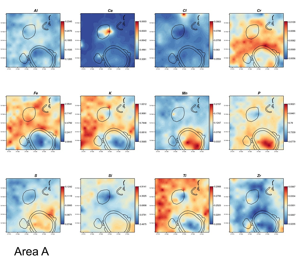 Results of the geostatistical analysis showing the spatial distribution of the chemical elements in the sampled area A