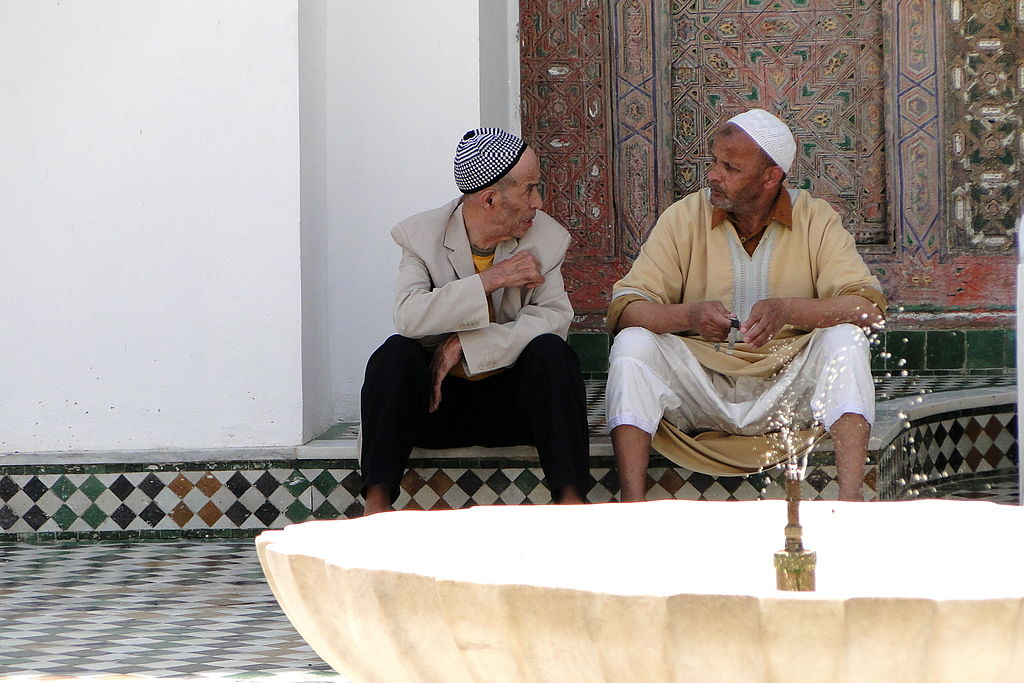 Men Chat by Fountain in Mosque - Medina (Old City) - Fez - Morocco