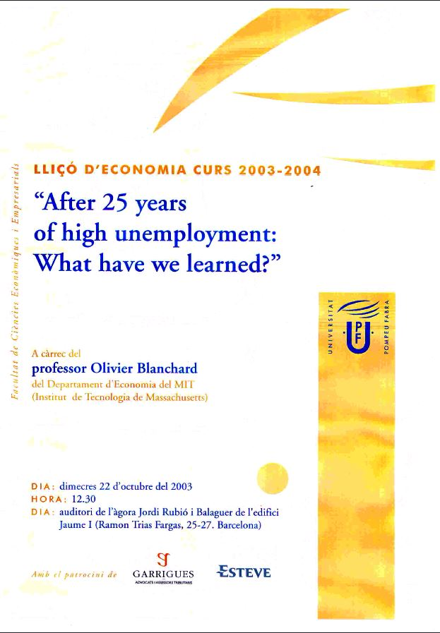 After 25 years of high unemployement: What have we learned?