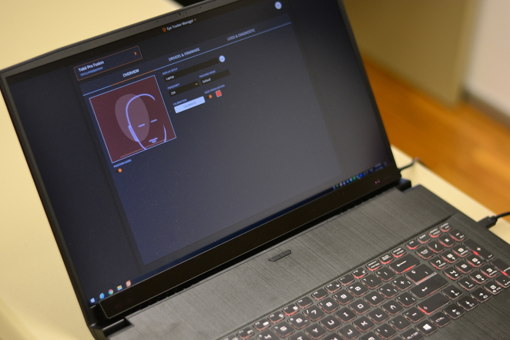 The Department's new eye-tracking device connected to a laptop