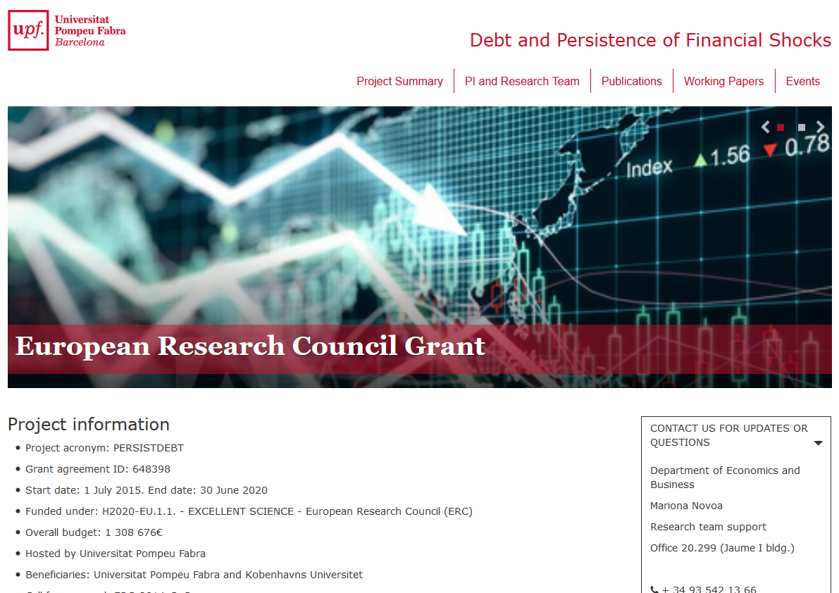 José-Luis Peydró launches new website on ERC project titled Debt and Persistence of Financial Shocks