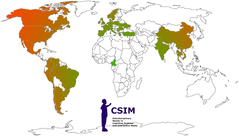 CSIM map of geographical origins of our students.