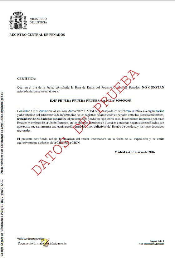 Certificado de antecedentes penales - Antecedentes Penales (UPF)