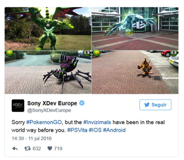 Tweet de Sony sobre Pokemon GO, 11 juliol 2016